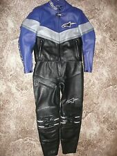 LADIES ALPINESTARS BLACK BLUE US8 EU44 US10 EU46 2 PIECE LEATHER MOTORCYCLE SUIT