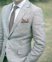 Cheap Beach Men's Blazers Grey Linen Wedding Formal Coat Jacket Slim Fit Custom