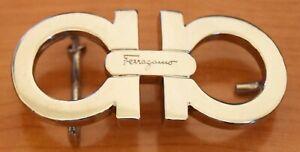 Authentic Salvatore Ferragamo Silver Tone Gancini Belt Buckle