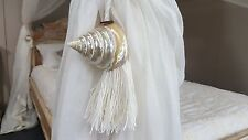 Seashell & Creme Cotton Wooden Tie Backs/ Tassel - Pair
