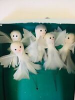 Vintage-BeautifulChristmas-Angels Spun-Cotton & Goose Down Feather-Tree-Orn