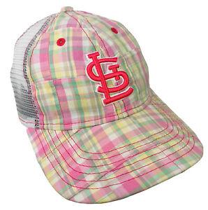St. Louis CARDINALS Plaid Mesh Back Adjustable YOUTH Hat Baseball Ball Cap