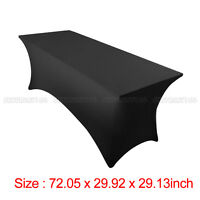 6' ft x 2.5'ft Spandex Fitted Stretch Tablecloth Table Cover Wedding Party Black