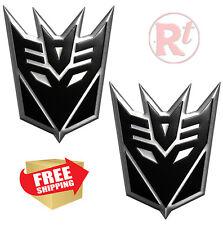 2pcs Black Large Transformers DECEPTICON Logo Emblem Badge Sticker Decal Truck