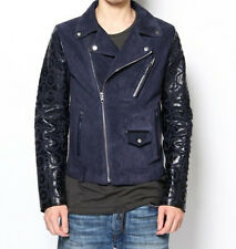 DIESEL BLACK GOLD LESANG-FS NAVY BLUE LEATHER JACKET SIZE 46 (S) 100% AUTHENTIC