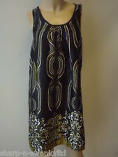 ☆ Ladies Black/White/Gold Print Satin Short Dress UK 10 EU 38 ☆