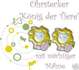 Ohrstecker * LÖWE * Ohrringe Emaille rosa gelb TRAUM