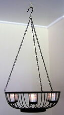 Wrought Iron Hanging - Large Candle Holder Wedding - Dish with 6 Candles - CW42