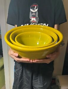 3 Vintage GAINEY CERAMICS Art Pottery Kitchen Mixing Bowls Planter Bowl Planters