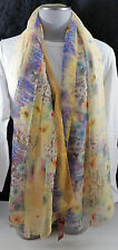 Sheer Shawl Wrap Square Chiffon Scarf Yellow and Multi-Floral Story of Shanghai