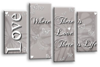 BLACK WHITE LOVE QUOTE GREY CANVAS WALL ART FAMILY PICTURE 4 PANEL SPLIT