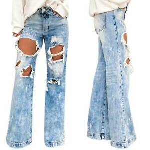 Womens High Waisted Wide Leg Denim Ripped Jeans Straight Casual Pants Trousers