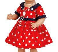 Puppen Kleid rot mit weißen Polka Dots für 41 cm Puppen Schildkröt, Nr. 41834