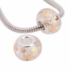 New 1 x Flower Print Lampwork Glass clear gold white  Charm Bead fr04