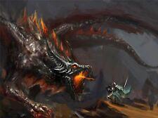 ART PRINT POSTER PAINTING DRAWING FANTASY DRAGON COMBAT WARRIOR FIRE LFMP1035