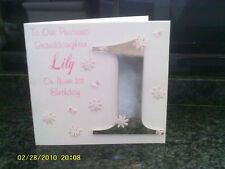 Hand made 1st Birthday card or any age personalised Granddaughter, Grandson etc
