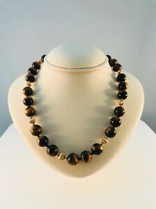 Tigers Eye & 14k Solid Yellow Gold 18 inch beaded necklace with gold clasp