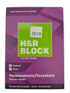H&R BLOCK Deluxe + State Tax Software PC Mac Homeowners Investors 2018 SEALED