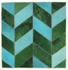SURYA Leather Rug Hair on Hide Carpet Tile Wall Art Aqua, Emerald, Black 18x18