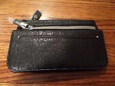 New Relic woman' black ID checkbook wallet wristlet purse faux crocodile leather