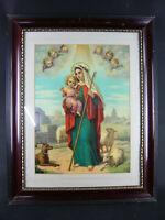 ANTIKES BILD MARIA MIT JESUS KIND SCHAFE ENGEL BAROCKRAHMEN HINTER GLAS 57x45cm