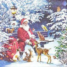 3 x Single Paper Napkins For Decoupage Craft Christmas Santa With Birds M854