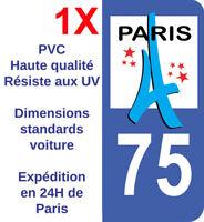 Sticker immatriculation autocollant plaque Département Paris 75 Ile de France HQ