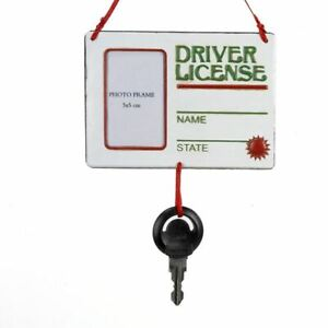 Kurt Adler – Driver's License Picture Frame with Key Ornament - Personalizable
