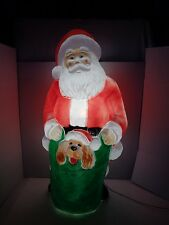 "43"" Empire Santa Puppy Dog Xmas Blow mold Light Plastic Outdoor Yard Decor"