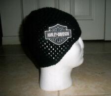Harley Davidson Inspired HANDMADE Crochet Hat Cap Beanie w/Patch Biker Black