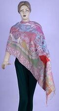 Indian Silk Soft Wool Women Luxurious Kashmir Stole Shawl Warm Neck Wrap Throw