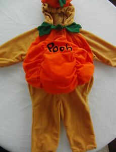 Disney Store Plush Winnie Pooh Pumpkin Halloween Costume Boy Girl Sz 18- 24  2T