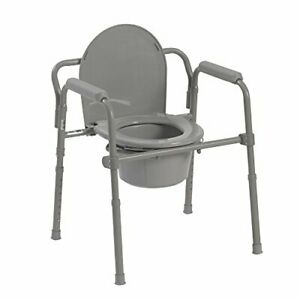 Drive Medical 11148-1 Steel Folding Bedside Commode Grey Bariatric
