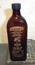 vintage Glovers Hair & Scalp sarcoptic mange medicine bottle (empty), nice color