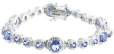 Sterling Silver 925 Womens Synthetic Blue Topaz Stone Bracelet 9mm Wide