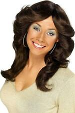 LADIES DARK BROWN 70s FLICK WIG CURLED WAVY FANCY DRESS FARRAH FAWCETT HAIRSTYLE