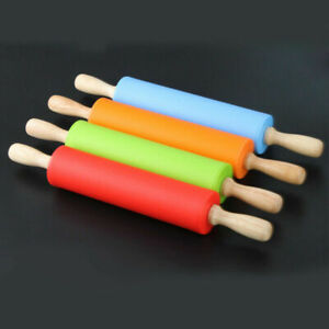 Large 40cm Non-Stick Silicone Dough Roller Rolling Pin Wooden Handle Kitchen