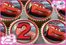 24 x 2ND BIRTHDAY AGE 2 CARS EDIBLE CUPCAKE TOPPERS CAKE WAFER RICE PAPER 8590