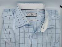 XL (17) Long - Thomas Pink Mens Dress Shirt Blue White Check  French Cuff