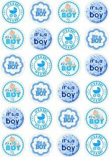 24 Baby Shower It's a Boy Cupcake Fairy Cake Toppers Edible Rice Wafer Paper