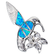 Sterling Silver Jewelry Pendants /& Charms 23 mm 25 mm Blue Inlay Created Opal Hummingbird Pendant