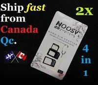 2X 4in1 Nano microSIM Card to Standard Convert Adapter micro sim iphone ipad pin
