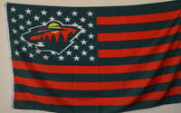 Minnesota Wild USA Stars and stripes  Flag Deluxe Banner 3'x5'Feet