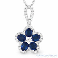 1.47 ct Blue Sapphire & Diamond 18k White Gold Flower Pendant 14k Chain Necklace