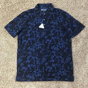 NEW Haggar Polo Men's Collared SS Shirt size Medium Blue Camo Easy Care