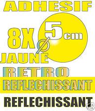 8 x PASTILLES retro Réfléchissant JAUNE 50 mm Adhesive retro-reflective film.
