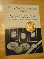VINTAGE LONGINES 1897 EXPOSITION INTERNATIONAL BRUXELLES MEDAL IN CARDBOARD AD
