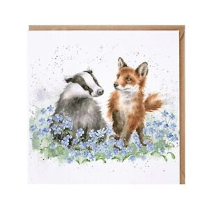 Badger and Fox Greeting Blank Card - Wrendale Designs Country Set By Hannah Dale