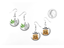 "Marijuana Weed Funny Quote ""I'm Toasted"" 2 Pair of Charm Earrings"