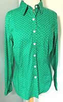 LL Bean Med Shirt Button Down Top Womens Kelly Green Crisp Preppy 100% Cotton